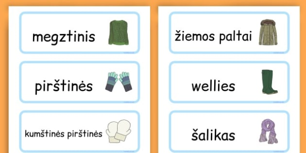 Winter Clothes Word Cards - winter clothes, word cards, winter, clothes - Lithuanian