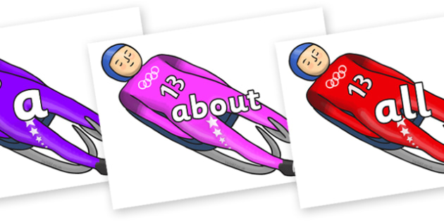 100 High Frequency Words on Luge - High frequency words, hfw, DfES Letters and Sounds, Letters and Sounds, display words