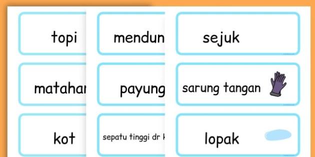 Winter Word Cards - seasons, weather, key words, visual aids  - Malay