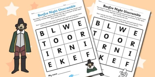 Bonfire Night Word Unscramble Worksheet - festivals, celebrate