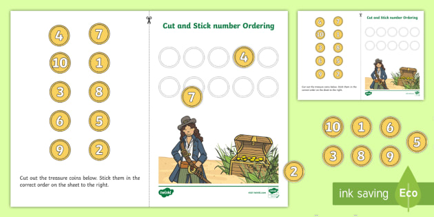 Pirate Themed Cut and Stick Number Ordering Activity 1-10 - cut