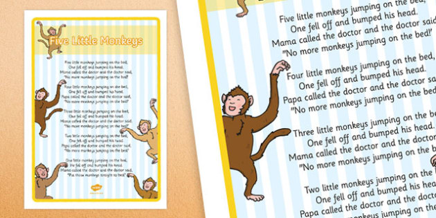 Five Little Monkeys Jumping on the Bed Nursery Rhyme Large Display Poster - poster, display