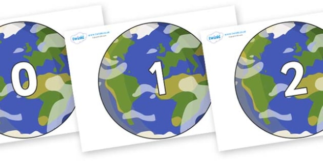 Numbers 0-50 on Planet Earth - 0-50, foundation stage numeracy, Number recognition, Number flashcards, counting, number frieze, Display numbers, number posters