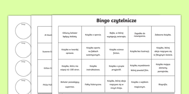 Book Reading Bingo Activity Sheets-Polish, worksheet