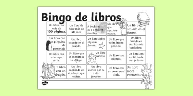 Bingo de libros Book Bingo Activity Sheet Spanish - spanish, reading, literacy, game, library, ks2, interaction, stories, worksheet