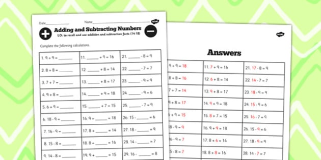 Number Facts Worksheet 14-18 One Digit - number, facts, 14, 18