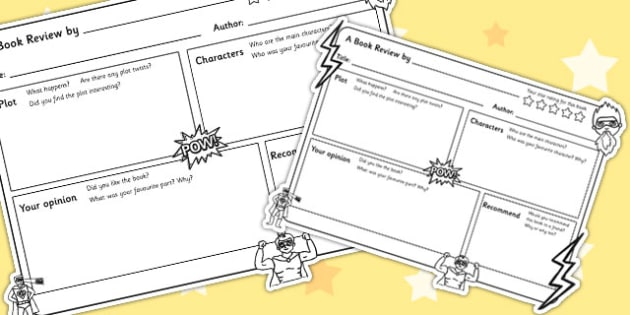 Superhero Themed Book Review Template  Superhero Superhero