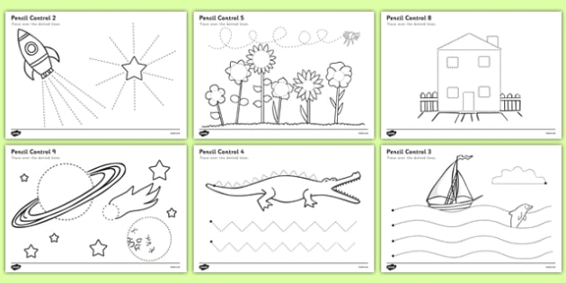 Pencil Control Worksheet - pencil control, worksheet, sheet, activity, literacy, tracing, trace dotted lines, fine motor skills