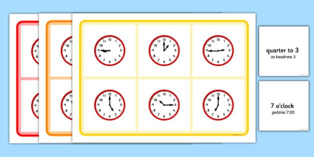 Mixed Time Bingo Polish Translation - polish, Mixed time bingo, time game, Time resource, Time vocabulary, clock face, Oclock, half past, quarter past, quarter to, shapes spaces measures