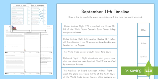 September 11th Differentiated Timeline Activity Sheets - Patriot Day, September 11th, World Trade Center, writing, comprehension, reading, timeline, activity