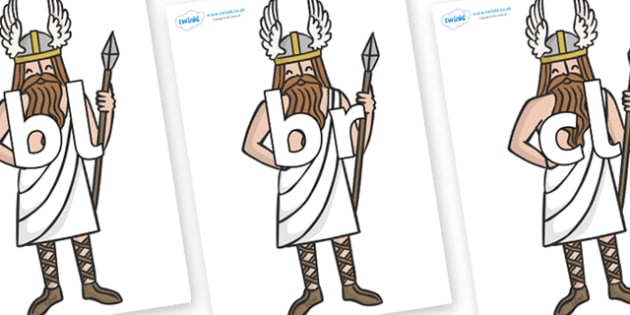 Initial Letter Blends on Viking Gods - Initial Letters, initial letter, letter blend, letter blends, consonant, consonants, digraph, trigraph, literacy, alphabet, letters, foundation stage literacy