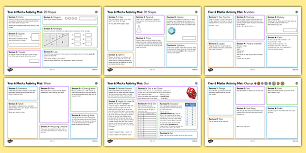 Year 6 Summer 2  Maths Activity Mats