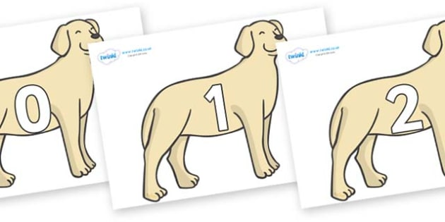 Numbers 0-31 on Dogs - 0-31, foundation stage numeracy, Number recognition, Number flashcards, counting, number frieze, Display numbers, number posters