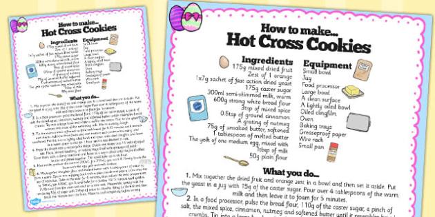 Hot Cross Bun Recipe Sheet - hot cross bun, recipe, sheet, bake