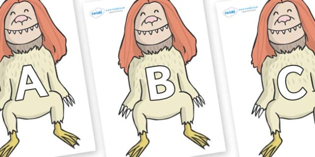 A-Z Alphabet on Wild Thing (2) to Support Teaching on Where the Wild Things Are - A-Z, A4, display, Alphabet frieze, Display letters, Letter posters, A-Z letters, Alphabet flashcards