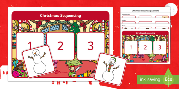Christmas Sequencing Activity - Canada Christmas, christmas, Christmas, gingerbread, tree, christmas tree, reindeer, snowman, presen