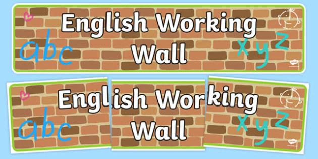English Working Wall Display Banner - english working wall, english, display banner, display, banner