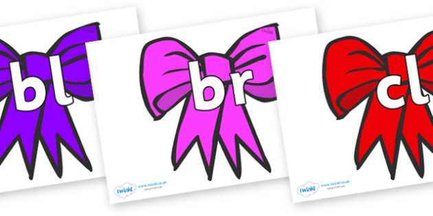 Initial Letter Blends on Bows - Initial Letters, initial letter, letter blend, letter blends, consonant, consonants, digraph, trigraph, literacy, alphabet, letters, foundation stage literacy