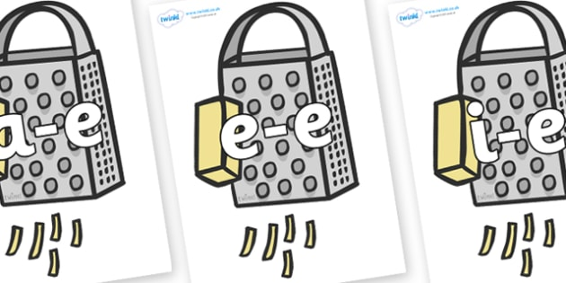 Modifying E Letters on Cheese Graters - Modifying E, letters, modify, Phase 5, Phase five, alternative spellings for phonemes, DfES letters and Sounds