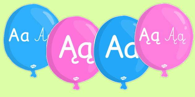 Alfabet A-Z na balonach po polsku - abecadło, litery