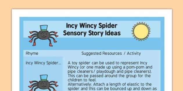Incy Wincy Spider Sensory Story Ideas Sheet - incy wincy spider, sensory story, ideas sheet, idea, sensory, story