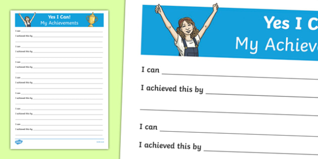Yes I Can! My Achievements KS2 Activity Sheet, worksheet