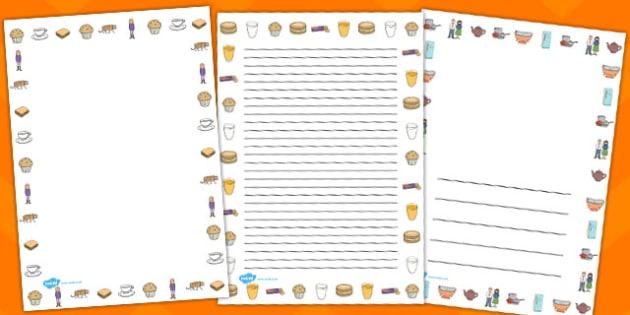 The Tiger Who Came to Tea Page Borders - tiger, tea, the tiger who came to tea, page border, border, writing template, writing aid, writing, play, Judith Kerr, girl, story book