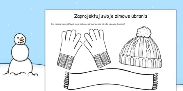 Zaprojektuj swoje zimowe ubrania po polsku - zima, kolorowanka
