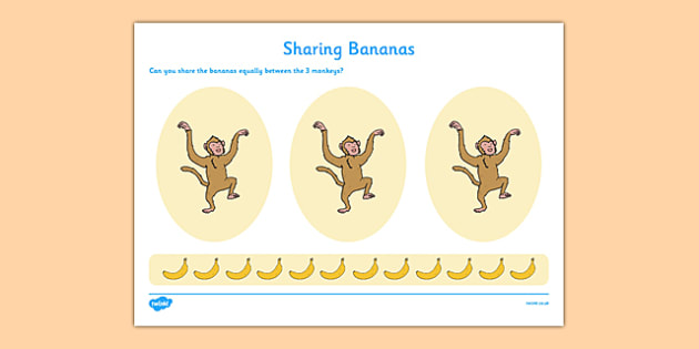 Sharing Bananas Activity Sheet - cfe, scotland, assessment, curriculum, assessment, eyfs, early years, early level, maths, measure, share, divide, worksheet