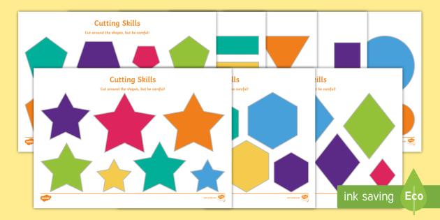 Cutting Skills Worksheets (Size & Shape Ordering) - education