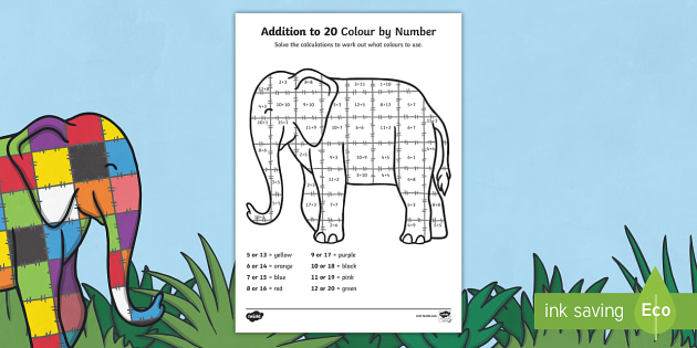 Elmer Addition To 20 Colour By Numbers Sheet - add, adding, maths