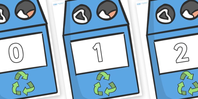 Numbers 0-31 on Eco Bins - 0-31, foundation stage numeracy, Number recognition, Number flashcards, counting, number frieze, Display numbers, number posters