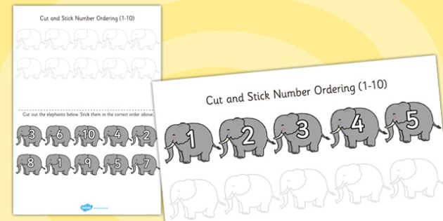 Safari Themed Cut and Stick Number Ordering Activity 1-10 - cut
