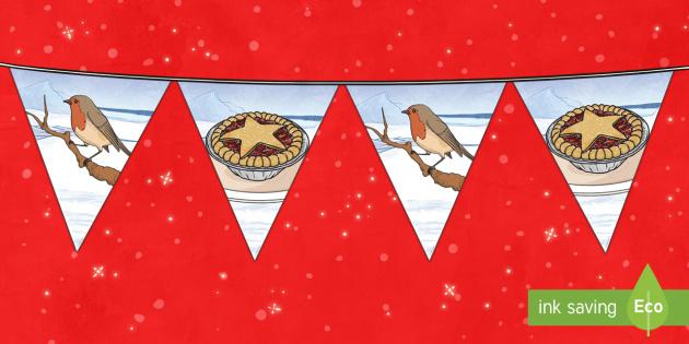 Christmas Robins Display Bunting - bunting, christmas, robins, mince pies, christmas bunting, christmas ks1, christmas ks2, christmas d