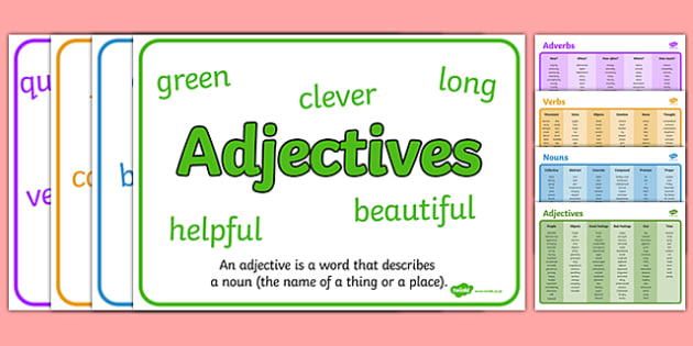 Noun, Adjective, Adverb and Verb Word Mat and Poster Pack - noun, adjective, adverb, verb, word mat, poster, pack