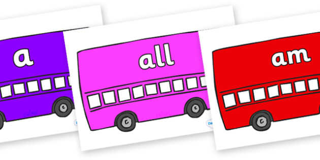 Foundation Stage 2 Keywords on Buses - FS2, CLL, keywords, Communication language and literacy,  Display, Key words, high frequency words, foundation stage literacy, DfES Letters and Sounds, Letters and Sounds, spelling