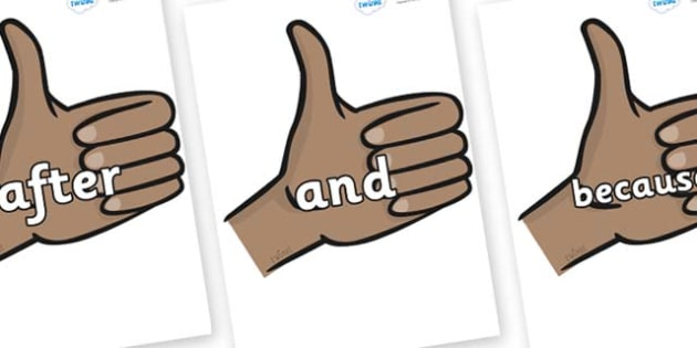 Connectives on Thumbs Up - Connectives, VCOP, connective resources, connectives display words, connective displays