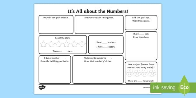 Year 1 It's All about the Numbers Activity Sheet - back to school, numbers, first week back, KS1, all about me, Worksheet