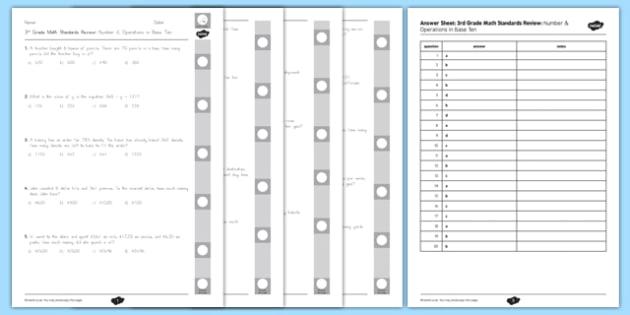 Common Core 3rd Grade NBT Standard Review Pack USA - US Resources Grade 3, NBT, End of Grade, Review