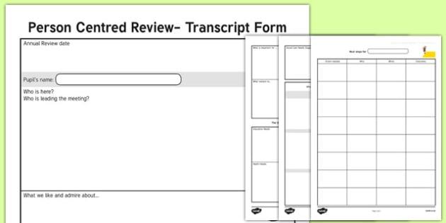 Person Centred Review Transcript Form - person centred review, transcript form