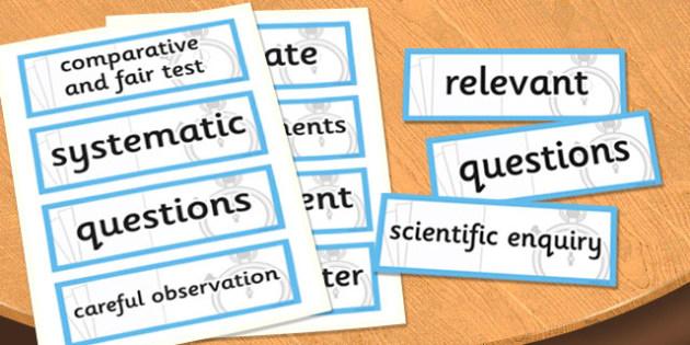 LKS2 Working Scientifically Scientific Vocabulary Cards - science