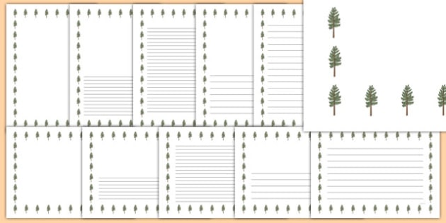 Pine Tree Themed Page Borders - pine tree, themed, page borders, page, borders
