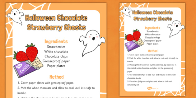 Halloween Chocolate Strawberry Ghosts Recipe - halloween, chocolate, strawberry, ghosts, recipe