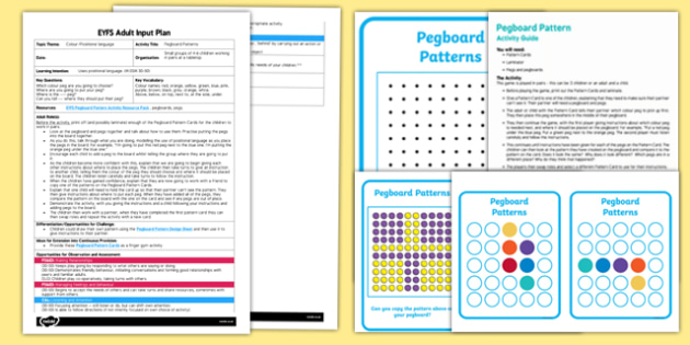EYFS Pegboard Patterns Adult Input Plan and Resource Pack
