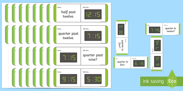 Half Past Quarter Past Quarter To Loop Cards - half past, quarter past, quarter to, time, loop card, cards, flashcards, loop, image, times, clock, what time is it