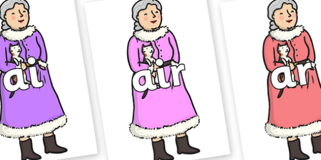 Phase 3 Phonemes on Mrs Clause to Support Teaching on The Jolly Christmas Postman - Phonemes, phoneme, Phase 3, Phase three, Foundation, Literacy, Letters and Sounds, DfES, display