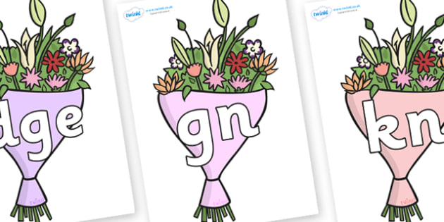 Silent Letters on Bouquets - Silent Letters, silent letter, letter blend, consonant, consonants, digraph, trigraph, A-Z letters, literacy, alphabet, letters, alternative sounds