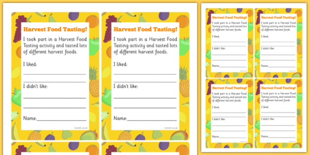 Harvest Food Tasting Cards - harvest, taste, like, dislike, writing, frame, test, senses, eat