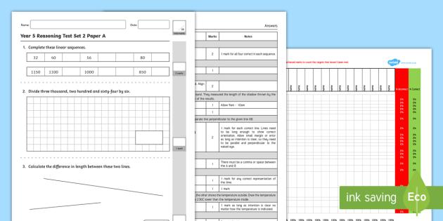 Year 5 Maths Reasoning Test Set 2 - KS2 Maths Assessments, Reasoning, Year 5, Test