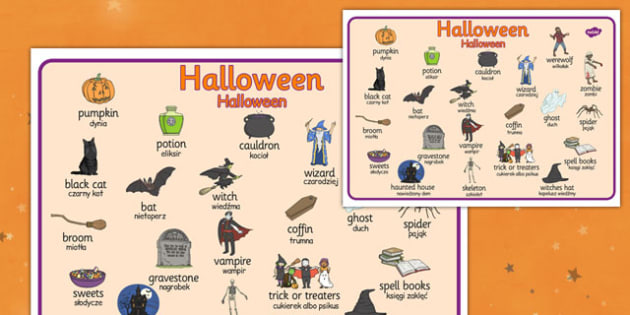 Halloween Word Mat Polish Translation - polish, halloween, word mat, word, mat, celebration, festival